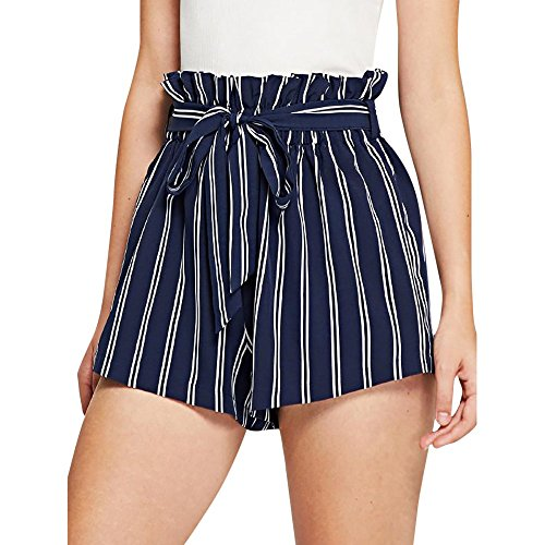 Women Retro Stripe Casual Fit Elastic Waist Pocket Self Tie Short Pants Navy-2, CN -