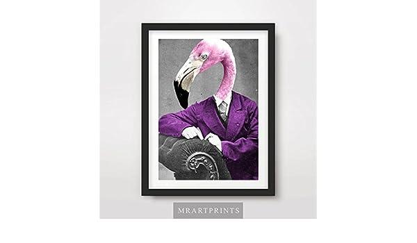 PINK FLAMINGO QUIRKY ANIMAL HEAD PORTRAIT Art Print Poster