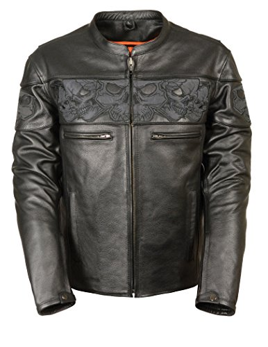 Milwaukee Leather Men's Crossover Stand Up Collar Motorcycle Jacket w/ Reflective Skulls w/ Two Inside Gun Pockets (Medium)