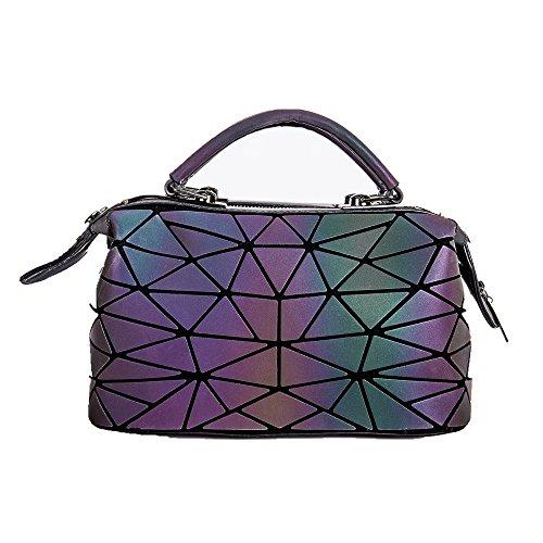 KAISIBO Blue geometric handbag Unique Design Geometric Lattice Purses Totes Purses For Women (Irregular Luminous)