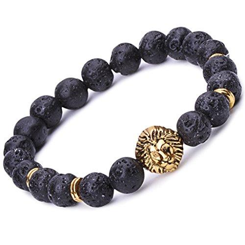 [Infinite U Cool Women's Men's Lion Bracelet 9mm Beads Wrist Mala Alloy Lava Stone Stretch Bracelet, Therapy Yoga Meditation,] (Cheap Disciple Costumes)