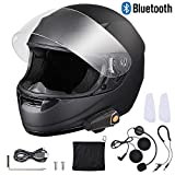 AHR Bluetooth Motorcycle Full Face Helmet Wireless Headset Helmet with Wireless Headset Intercom MP3 FM Radio DOT