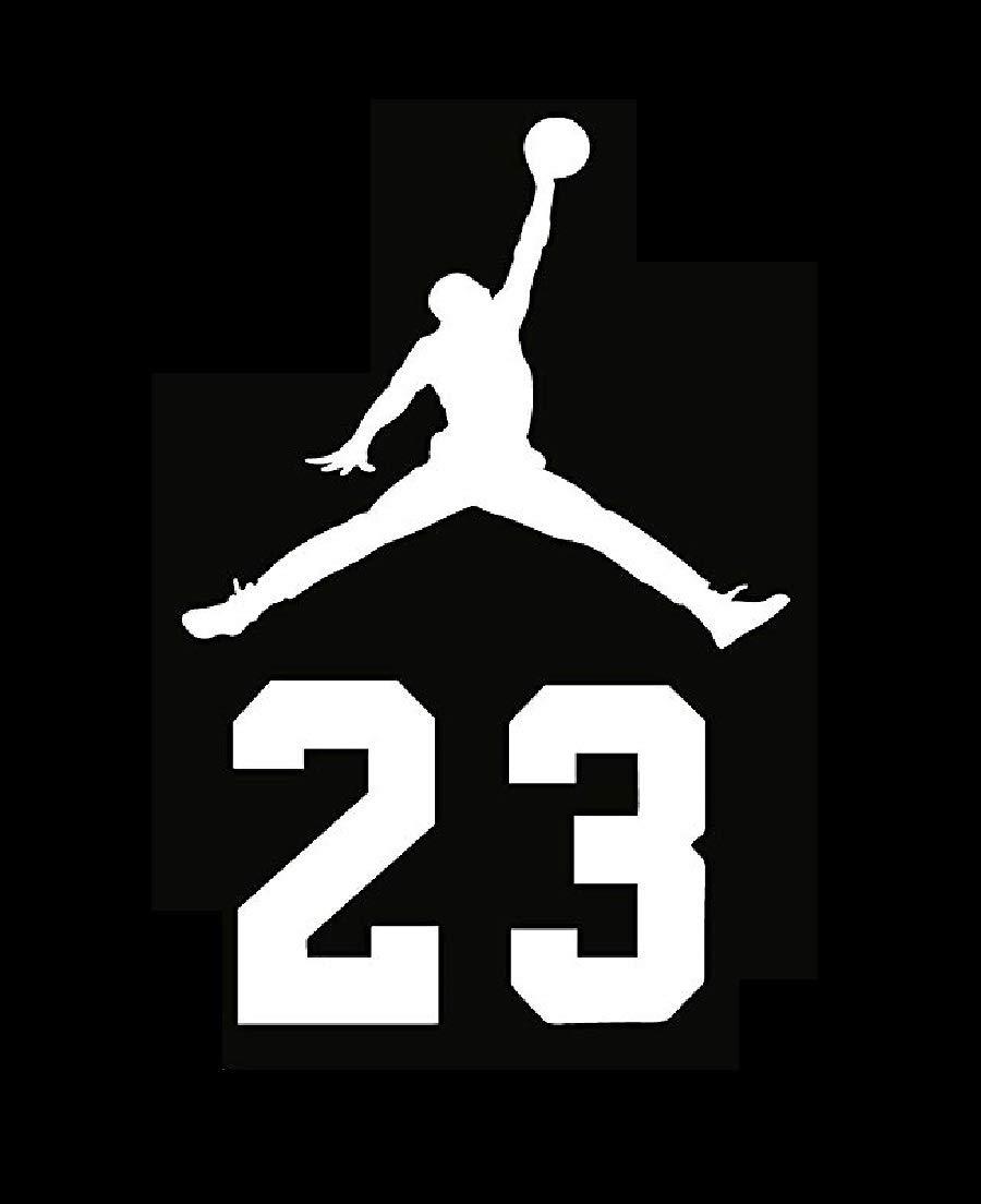 Micheal 23 Air Jordan Flight Logo Vinyl Decal Sticker - Car Window, Laprop, Wall, Mac (5.5'' inches, White) by Vinyl Sticker (Image #1)