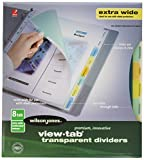 Wilson Jones View-Tab Index Dividers, 8-Tab, Extra Wide Square, Letter, Assorted, 8 per Set (55070)
