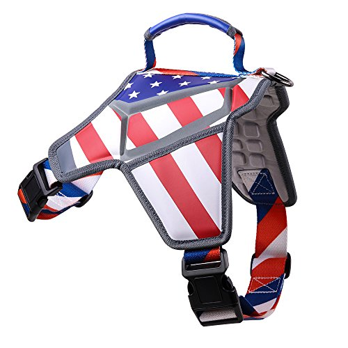 Weetall Dog Harness, No-Pull & Adjustable Large Dog Harness, American Flag Theme Dog Vest Reflective Straps Large Breed