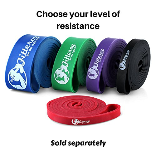 """Fitteroy Pull Up Assist Band – Heavy Duty 41"""" Resistance Powerlifting and Mobility Bands, Great for Pull Up Assistance and HIIT Bodyweight Training Workouts -Red"""