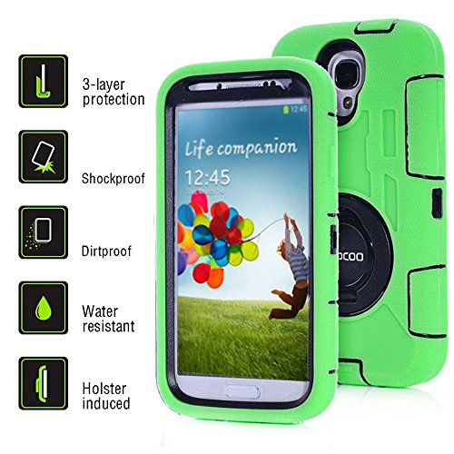 Galaxy S4 Case, S4 Case, Honeycase Military Extreme-Duty Shockproof Rugged Hybrid Armor Case Cover With Belt Clip Holster Rotating Kickstand and Screen Protectorfor Samsung Galaxy S4 i9500 (Green)