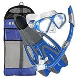 U.S. Divers Adult Cozumel Mask/Seabreeze II Snorkel/Proflex Fins/Gearbag (Elect. Blue, Small )