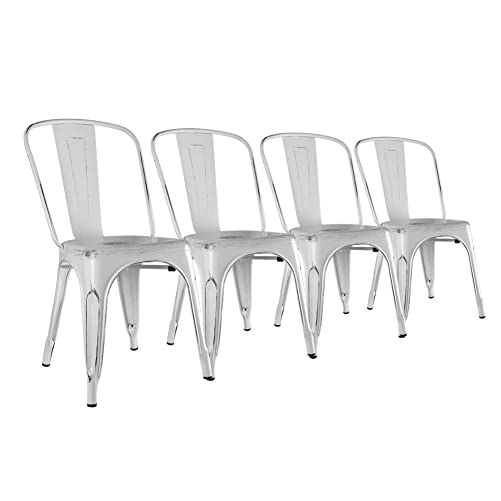 H JINHUI Metal Dining Room Chairs Set of 4, Stackable Outdoor Side Chairs for Patio Restaurant Farmhouse Bistro Caf Trattoria, Distressed White