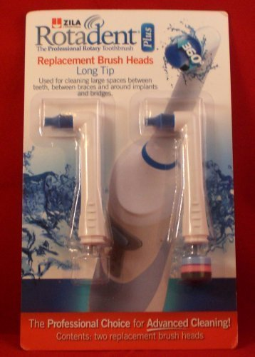 Pack of 2 Rotadent Plus Brush Heads - LONG TIP