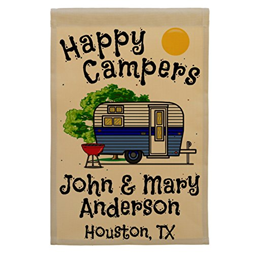 Happy Campers, Retro Camp Trailer Campsite Flag, Custom Camping Sign, Personalized Your Way (Blue)