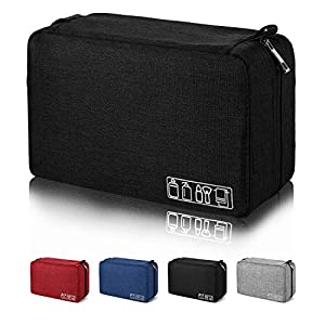Mens Toiletry Bag Hanging Travel Shaving Dopp Kit Waterproof Organizer Bag Perfect Travel Accessory Gift (Black)
