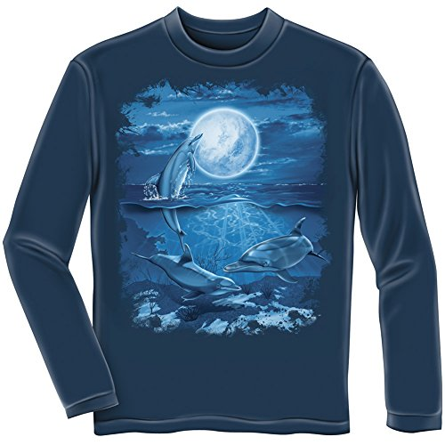 Dolphins Moon (Dolphins Moon Adult Longsleeve Tee Shirt (Adult Small))