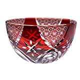 Fireworks Motif Guinomi Sake Cup Shot Glass Edo Kiriko Design Cut Glass - Red [Japanese Crafts Sakura]
