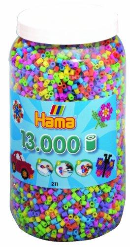 Hama - 211-50 - Loisir Créatif - Midi Pot 13000 Perles - Mélange Pastel
