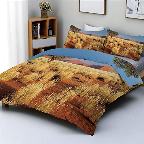 (Duplex Print Duvet Cover Set Twin Size,Acacia Tree Desert Sossusvlei Namibia Southern Africa PhotoDecorative 3 Piece Bedding Set with 2 Pillow Sham,Marigold Sky Blue and Green,Best Gift For Kids & Adu)