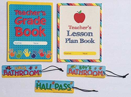 Teacher Grade Lesson Plan Book Teaching School Planner Student Hall Passes Classroom Homeschool Supplies Gifts 5 Piece Set … (School Passes Hall)