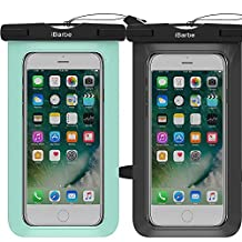 2 Pack Waterproof Case,iBarbe Universal Cell Phone Plasic TPU Dry Bag for iPhone 7 7 plus 6S 6/6S Plus 5/S/SE 5C samsung galaxy Note 5 s8 s8 plus S 8 S7 S6 Edge s5 etc.to 5.7 inch,Black+Teal
