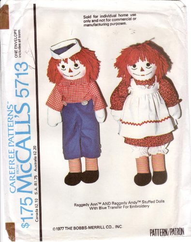 - Vintage 1977 McCalls Sewing Pattern 5713 Raggedy Ann and Raggedy Andy Dolls and Clothes