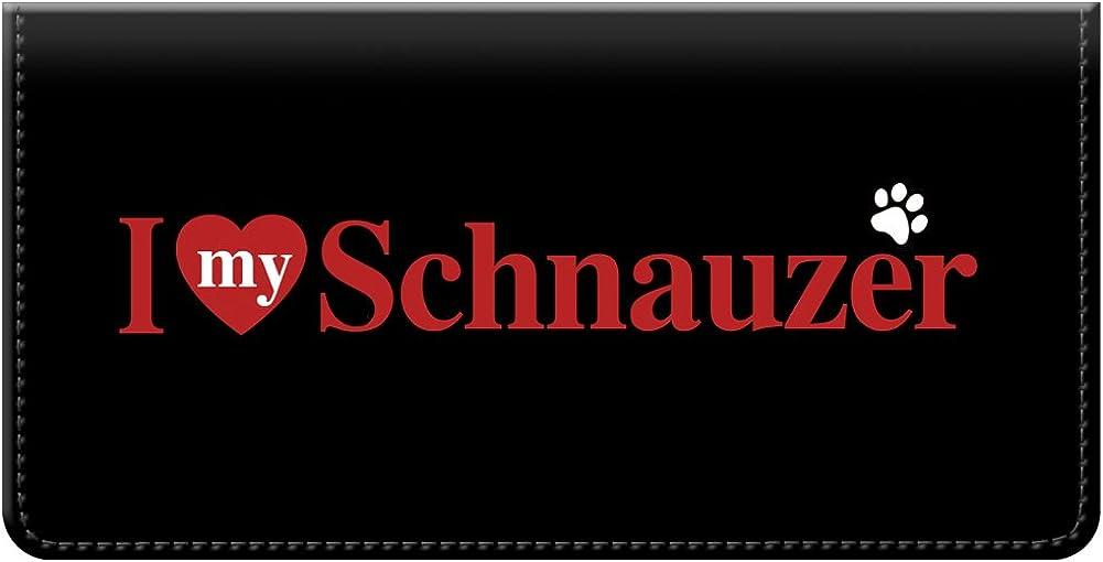 Snaptotes I Love My Schnauzer Checkbook Cover One Size Red White Black