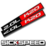 2X Black/Red Metal 2.0L K20 Engine Race Motor Swap Badge For Trunk Hood Door for Honda Civic