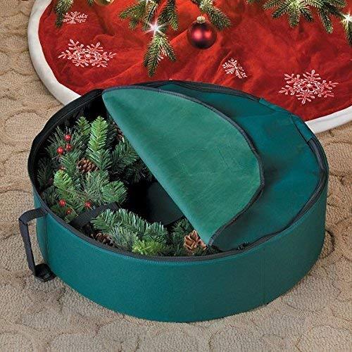 Durable Protective Green Single 24'' Christmas Wreath Storage Bag Case Bin by DermaPAD