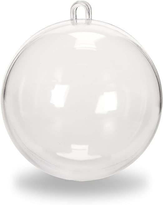 Pack of 12 Darice 1105-89 Plastic Ball Ornament Clear 140mm