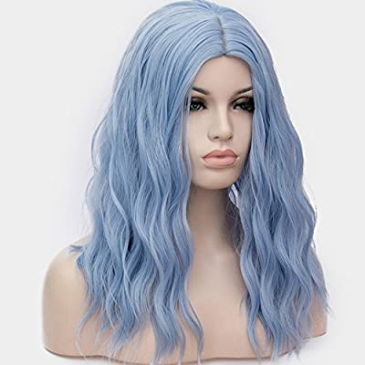 OneUstar Womens Navy Blue Wig 18 inch Long Fluffy Curly Wavy Hair Wigs for Girl Synthetic Cosplay Wigs