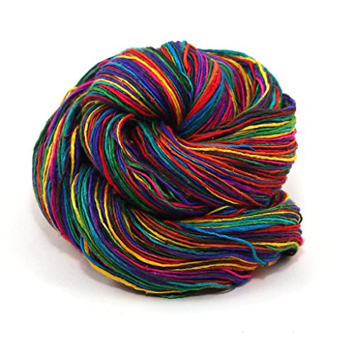 Darn Good Yarn, Lace Weight Silk Yarn, 300 Yards, Exotic Rainbow, 50 Grams, 1 Skein