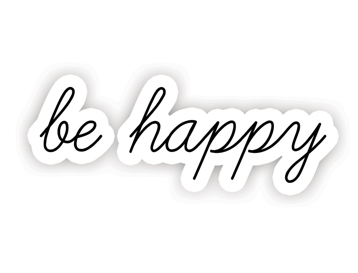 Amazon com be happy inspirational quotes stickers 2 5 vinyl decal laptop decor window vinyl decal sticker computers accessories