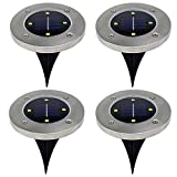 4Pcs 4 LED Solar Powered Ground Lights Outdoor lamp Waterproof LED Solar Path Lights Garden Landscape Spike Lighting for Yard Driveway Lawn Pathway White