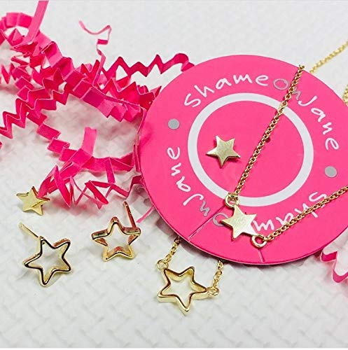 for Girls for Teens Great Gift for Women ShameOnJane Dainty 14k Gold-Plated 925 Sterling Silver Open Star Necklace