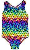 Speedo Big Girls' Solid Infinity Splice One Piece Swimsuit (5, Colored Cubes)