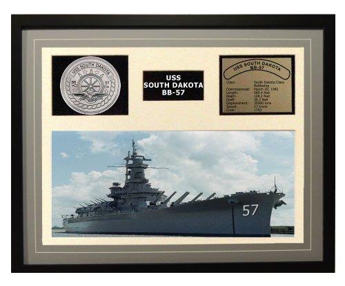 (Navy Emporium USS South Dakota BB 57 Framed Navy Ship Display Grey)