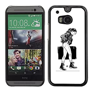 LECELL--Funda protectora / Cubierta / Piel For HTC One M8 -- Chica Emo Sexy --