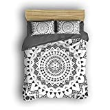 Duvet Cover Set with Zipper Closure - Ultra Plush Hypoallergenic, 4pcs Duvet Cover and Shams Bedding Set, Bohemian Printed By Dioline,Dark Gray