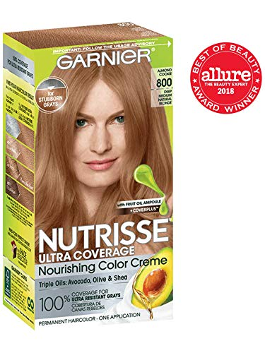 Garnier Nutrisse Ultra Coverage Hair Color, Deep Medium Nautral Blonde (Almond Cookie) 800 (Packaging May Vary) (Best Professional Hair Color For Resistant Gray)