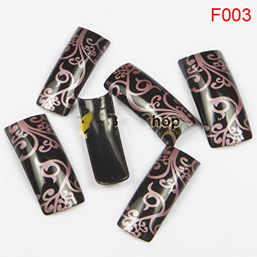 Dark Pink Color Strips Art Work Painting Acrylic Nail Tips Fake Half Cover Nail Tips Plastic False French Nail Art Tips BF003 50pcs
