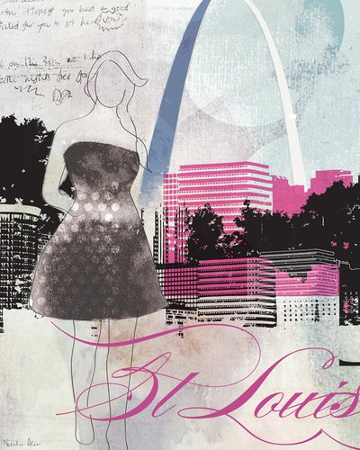 Wheatpaste Art Collective City Girl St. Louis by Natalie Alexander Posters That Stick Wall Decal, 28 by 35-Inch