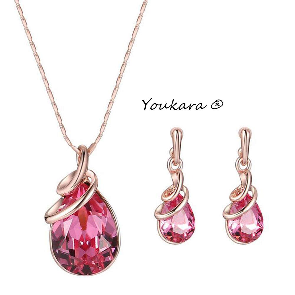 Youkara Rose Gold Crystal Earings and Necklace Sets Woman Pendant Women Wedding Jewellery