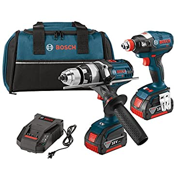 """Bosch CLPK224-181 18-volt Lithium-Ion 2-Tool Combo Kit with 1/2"""" Hammer Drill/Driver, Impact Driver, 2 Batteries, Charger and Contractor Bag"""
