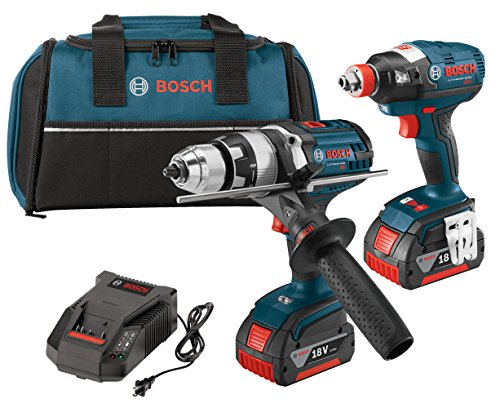 Bosch CLPK224-181 18-volt Lithium-Ion 2-Tool Combo Kit with 1/2-Inch Hammer Drill/Driver, Impact Driver, 2 Batteries, Charger and Contractor Bag by Bosch