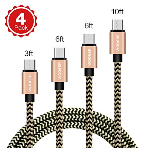 Price comparison product image Micro USB Cable Android,  Wodeer Nylon Braided USB Charger Cables,  4pack[3FT 6FT 6FT 10FT] USB 2.0 to Micro USB Fast Sync&Charging Cord for Smartphone, Tablet, Camera and More (Gold)