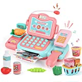 JoyGrow Smart Cash Register, Pretend Play Supermarket Shop Toys with Calculator and Working Scanner, Intelligent Identification Educational Learning Toys for Kids-English Version (Pink)