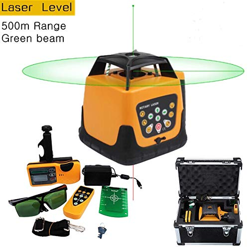 Iglobalbuy 500M Green Beam 360°Automatic Electronic Self-leveling Rotary Rotating Laser Level Tool Kit with Remote Control -