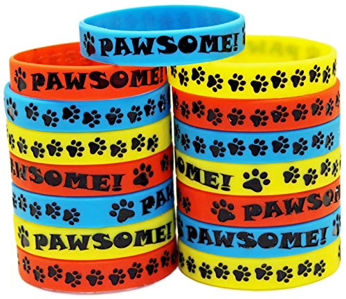 Gypsy Jade's Paw Print Party Favors - Wristbands for Puppy, Kitten or Animal Themed Parties - Pack of 15!]()