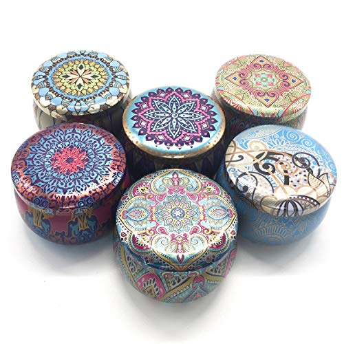 NICROLANDEE Candle Making Tin Jars Containers Reusable Round Shape Vintage Printed Storage Box Coffee Tea Cans DIY Candle Wax Holder Jewelry Box for Homemade Tealights Decorations (Bohemia)