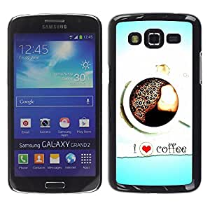 Impact Case Cover with Art Pattern Designs FOR Samsung Galaxy Grand 2 I Love Coffee Heart Blue Black White Betty shop