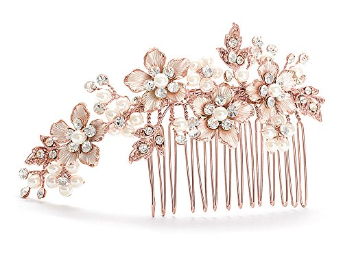 Mariell Handmade Brushed Rose Gold and Ivory Pearl Wedding Comb - Crystal Jeweled Bridal Hair Accessory (Pink Ribbon Swarovski Crystal)