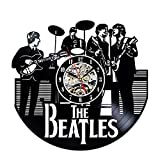 The Beatles Music Band Theme Vinyl Record Creative Wall Clock 12'Black Round-Handmade-Hanging Time Watch Kitchen-Modern Art Home Decor Interior Design Children Room Living Bedroom Nursery Decoration-Best Gift for Musician Singer Office and Studio